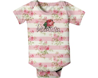 Baby Girl Bodysuit - Personalized Pink Floral Baby Shirt, Custom Infant Rose One-Piece