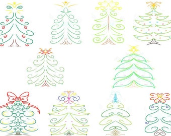 Christmas Tree Outline Digital Clip Art Hand Drawn Instant Download Digital Artwork Holiday trees ornaments stars seasonal Xmas Winter arts