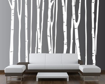 Large Wall Birch Tree Decal Forest Kids Vinyl Sticker Removable (9 trees) 6 foot tall 1109