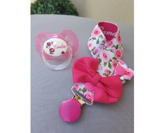 Floral fuchsia personalized pacifier