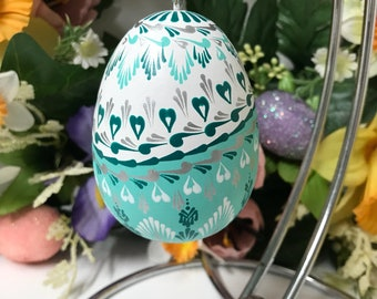 Wooden tiffany blue and white Easter eggs pysanky