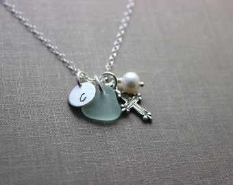 Sterling Silver small Cross, Genuine sea glass, initial & White Freshwater Pearl Necklace - sterling silver, faith necklace, Beach jewelry