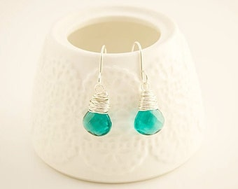 Teal Quartz Earrings, Teal Earrings, Teal, Quartz Earrings,  Sustainable Jewelry, Gifts Under 50, Teal Jewelry, MaineTeam,
