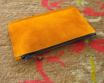 Rainbow pouch - Turmeric suede with blue zip - pen case, glasses case, wallet, phone case
