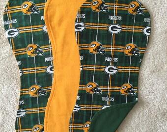 Green Bay Packer Burp Cloths, NFL Burp Cloths, Set of 3 burp cloths, Baby boy burp cloths