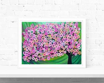 Pink & Green Art Print - Pink and Green Abstract Tree Art Print, Pink and Green Tree of Life Wall Art Print, A1 A2 A3 A4 Art Print
