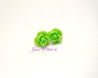 Rose Earrings - Lime Green - Flower Earrings - Green Studs - E421 E301