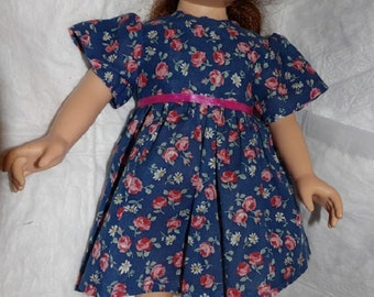 Cute blue & pink floral dress for 18 inch dolls - ag285