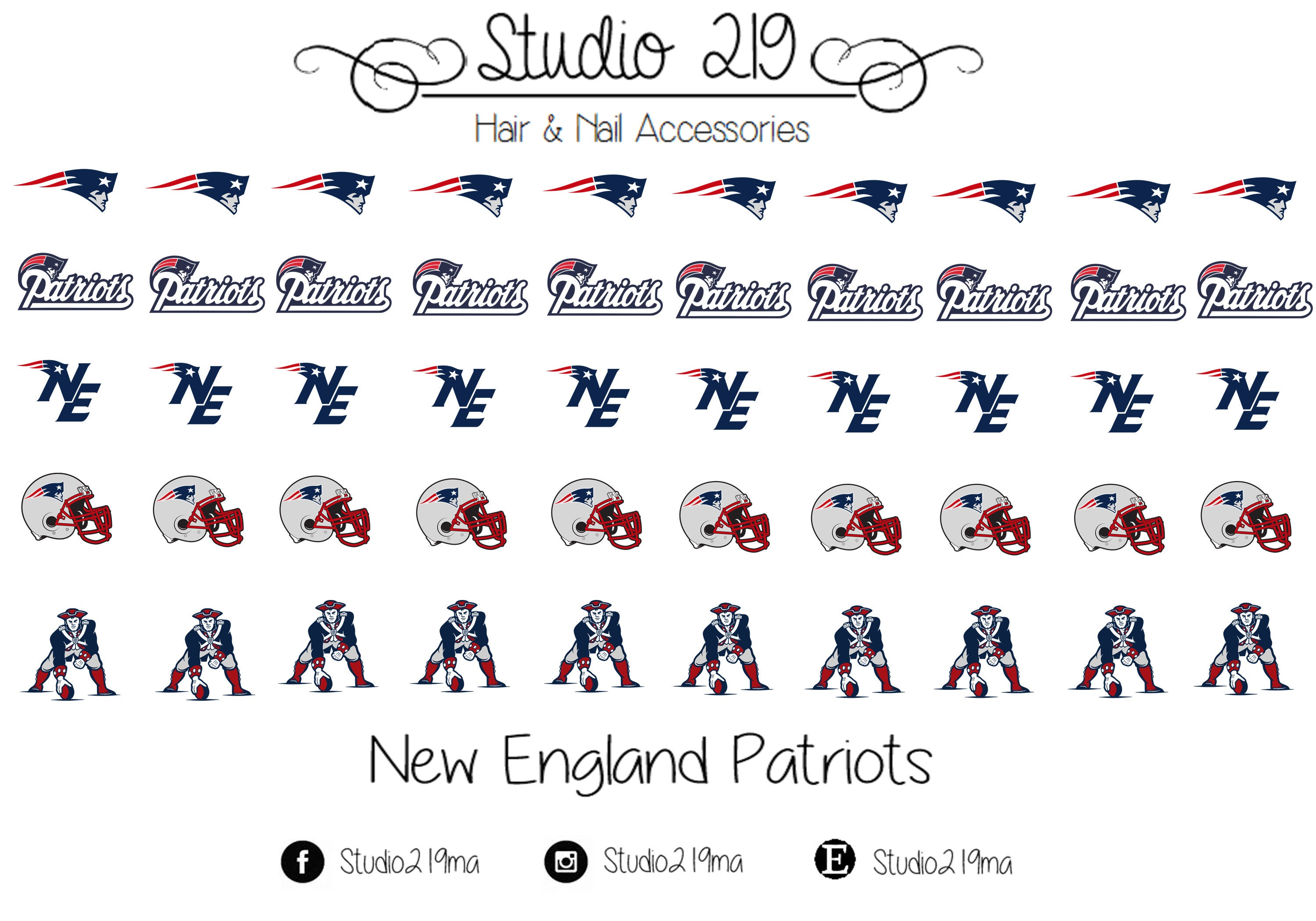 New England Patriots Waterslide Nail Decals