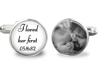 Custom photo cufflinks, father of the bride cufflinks, wedding cufflinks, personalized picture cufflinks, i loved her first cufflinks
