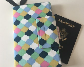 Travel wallet, Passport Case ,Travel organizer, Smart phone holder, geometric blue multi color, yellow wallet- Ready to ship