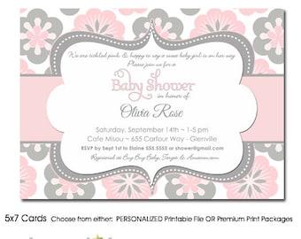 Baby Shower Invitation Floral Pink Grey, Girl Floral Baby Shower Invitation Pink Gray, Floral Baby Shower Invitation , Printed