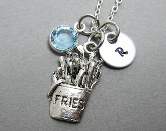 French Fries Necklace - Handstamped Initial, Personalized Name, Customized Swarovski crystal birthstone