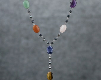 Assorted Stone pearl lariat long necklace Bridesmaid gifts Free US Shipping handmade Anni designs