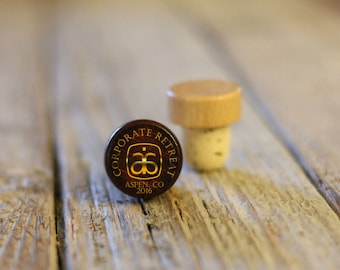 Single Personalized Custom Wine Stopper, Laser Engraved Cork Bottle Topper, Customized Rustic Wedding Favor, Reusable --WS-DG-CorpRetreat