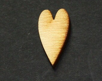 Unfinished Wood Heart Primitive - 1 inch tall by 1/2 inch wide and 1/8 inch thick wooden shape (HART42)