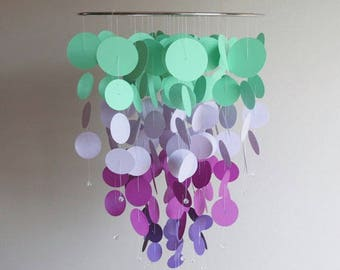 Disc Mobile - Purple Mobile, Nursery Mobile, Baby Mobile, Home Decor, Circle Mobile, Lavender Mobile, Chandelier Mobile, Gifts For Her