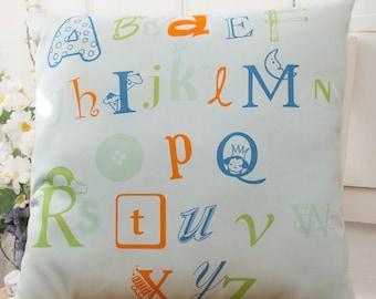 """ABC Alphabet Pillow 16x16"""" for Nursery, Playroom decor or Gift"""