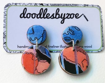 "Double circle drops – ""Tall Poppy - Black"" (wearable art, statement earrings, illustration)"