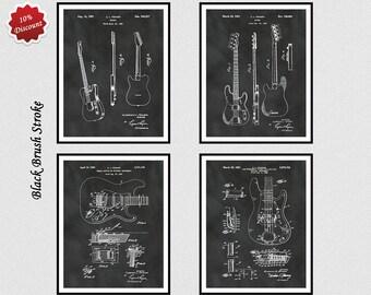 Set of 4 Fender Guitar Patent Prints - 1951 Fender Patent - 1953 Fender Patent- 1956 Fender Patent - 1961 Fender Patent - Guitar Wall Decor