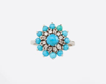 A Turquoise and Diamond Cluster Ring, 18k