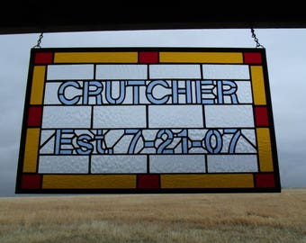 Custom Wedding Gift, Family Established Sign, Stained Glass Windows, Last Name Artwork, Artist for Hire,  Engagement Gift for Couple