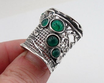 Hadar Jewelry Handcrafted Sterling Silver Green Agate Ring size 8 (H 144)