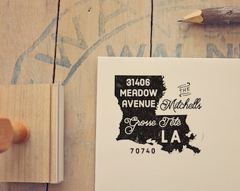Louisiana Return Address State Stamp, Personalized Rubber Stamp