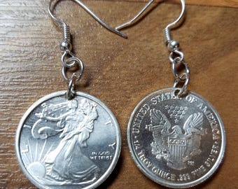 Pure Silver .999 Walking Liberty Rounds  Earrings