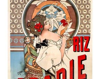 Mucha Art Print, Riz Abadie Cigarette Rolling Paper Print, Home Decor Art Nouveau, Smoker Gift