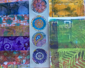Mixed Media Collage Paper Kits Round Stickers Decorated Papers Hand Painted Papers Gelli Prints