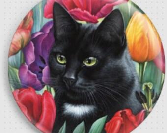 Black Cat Needle Minder, 'Amongst The Tulips', Irina Garmashova-Cawton, Cross Stitch Keeper, Kitten Fridge Magnet, Cross Stitch Accessory,