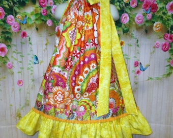 Girls Dress 4T/5 Yellow Gold, Orange Pop Flower Pillowcase Dress, Pillow Case Dress, Sundress, Boutique Dress