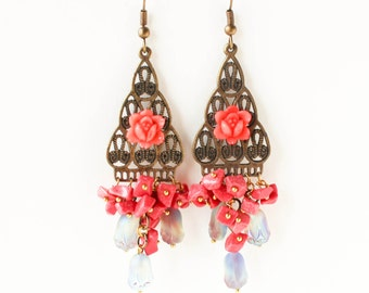 Gypsy boho beaded chandelier flower earrings LAST ONE