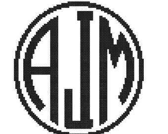 1 Cross Stitch customized/Personalized Pattern circle Monogram Initial Alphabet / letter Gift Home Decor House Warming Wedding Anniversary