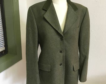 Donegal Green  Tweed Wool Ladies Blazer Jacket From Ireland Size 10 or 12 Medium