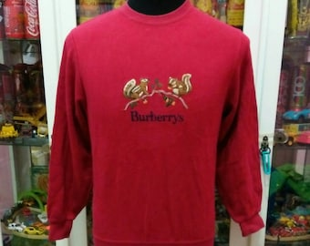 Vintage 90's Burberrys Youth Kids Embroidery Squirrel Pullover Red Sweatshirts
