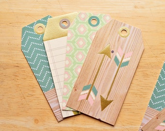 SALE-Desert Dreams Gift Tags // Set of 8 // Patterend Tags // Gift Tags // Hang Tags // Gift Wrapping // Scrapbooking // Journaling