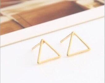 Triangle Brass Studded Post Earrings