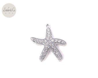 Rhinestone Charm 28x26mm silver plated sea star / sea-26