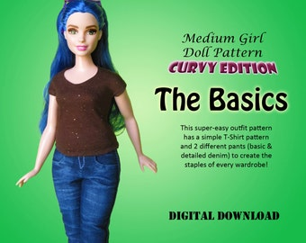 """Easy Basics Jeans & T-Shirt Doll Clothes PDF Sewing pattern for Curvy Barbie 11.5"""" Fashion Doll"""