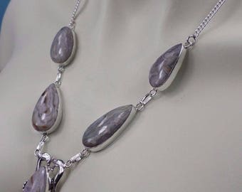 """""""Crazy lace"""" Agate and 925 Silver NECKLACE (CO80)"""