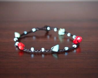 Mother 's day gift idea for mom/Thai handmade bracelet turquoise stone/red coral on Summer collection/blue bracelet/spring bracelet/Hawaii j