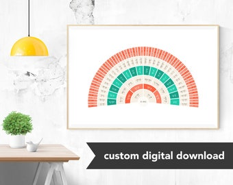 Custom Genealogy Family Tree Chart - Heirloom Tomato Fan Chart (Bold, Modern and Classy, either Circle Genealogy Chart or Fan Chart)