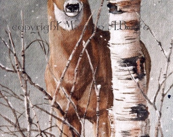WILDLIFE PRINT- DEER; white tail deer, winter, birch, from original art, Canadian art, wall art, nature, wildlife, deer print