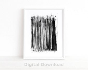 Black & White Stripes Wall Art, Abstract Art Print, Printable Art, Minimalist Poster, Watercolor Painting, Scandinavian Art, Large Wall Art