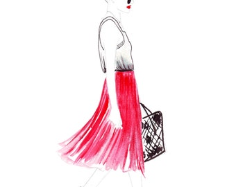 Digital Download - Watercolour fashion illustration Titled Strolling Through LA