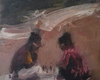 Twin Chess .A small study in oils