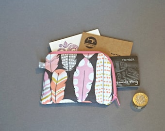 Feathers Coin Purse - Small Pink Coin Purse - Pink Feathers Coin Purse - Small Zipper Pouch