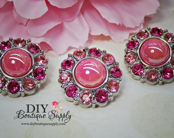 Sweet  Pink Pearl Buttons Pink Rhinestone Buttons Embellishments Hair Bow Flower Centers Buttons Craft Supplies 25mm 830035